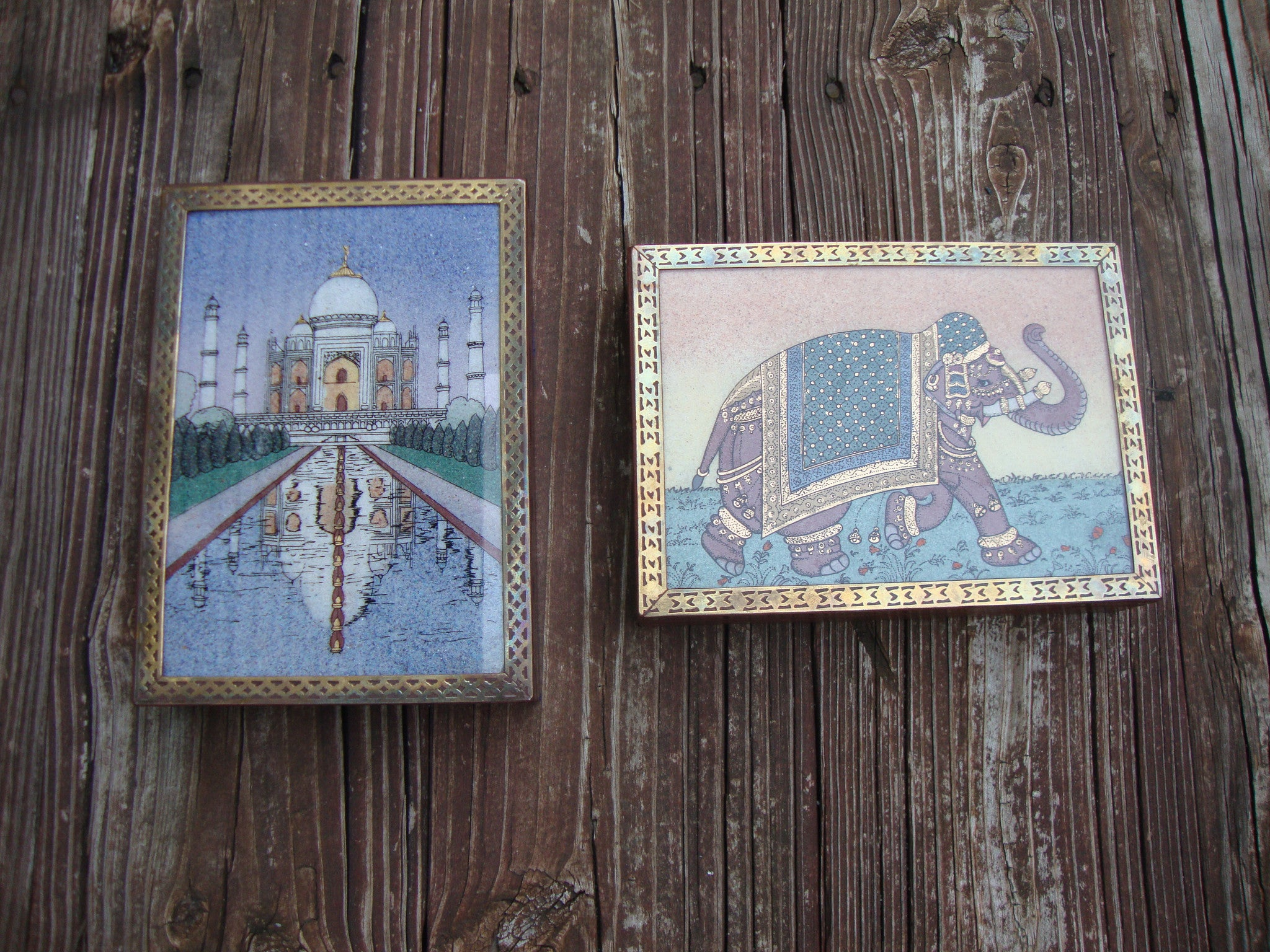 PAIR OF 2 VINTAGE INDIAN TAJ MAHAL JEWELRY/TRINKET BOX WOODEN W GEMSTONE PAINTIN