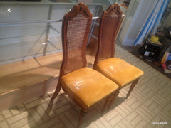 [SOLD] 4 FOUR LOUIS IV FRENCH PROVENCIAL STYLE CANE BACK BERNHARDT DINING CHAIRS GOLD VELVET SEATS /1960s