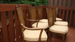 [SOLD] Thomasville Italian Cane Brass Dining Chairs - 6