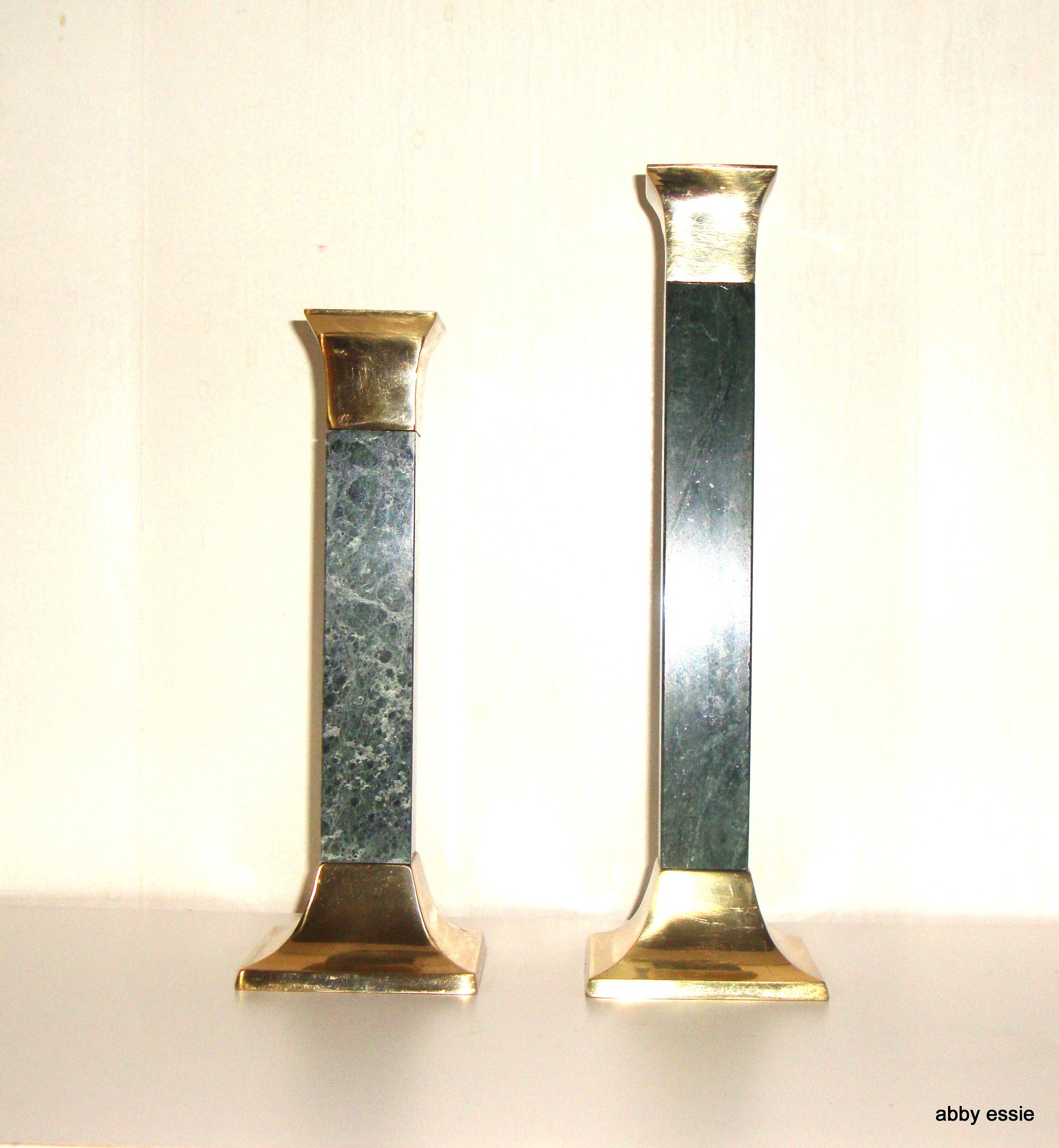 [sold] PAIR OF 2 VINTAGE SOLID GREEN MARBLE BRASS CANDLESTICKS CANDLE HOLDERS