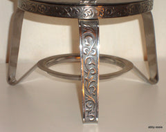 RARE VINTAGE 2 pc STAINLESS STEEL POT W/ GRECIAN DESIGN WOOD HANDLE BURNER