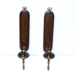 Aged Brass Gothic Walnut Deco Candle Sconces
