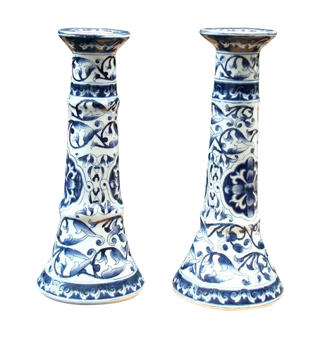 [sold] VINTAGE VICTORIAN BLUE & WHITE FLORAL PAINTED PORCELAIN CANDLE HOLDERS
