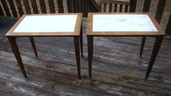 [Sold] PAIR OF ANTIQUE VINTAGE LOUIS XVI PORTUGUESE MARBLE BURLWOOD TABLES