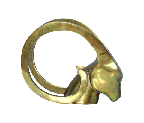 Hollywood Regency Brass Antelope Horns Sculpture