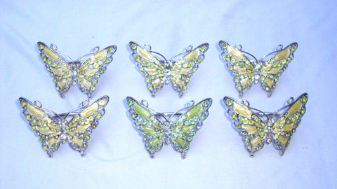 Silver Rhinestone Pearlized Iridescent Butterfly Napkin Rings - Set of 5