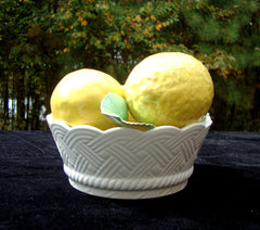 ITALIAN CERAMIC LEMON FLORAL BASKET SCULPTURE MADE IN ITALY