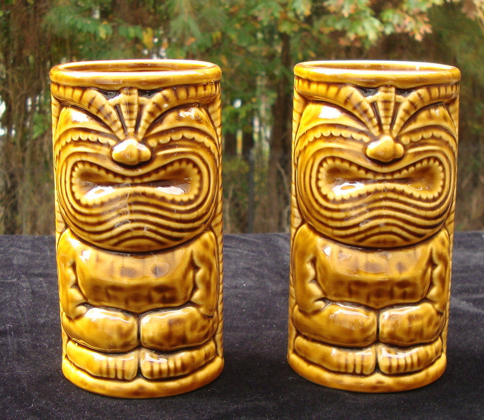 PAIR OF 2 GERMAINE'S LUAU HAWAII WARRIOR TIKI CERAMIC GLASSES