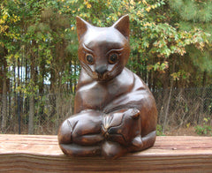 MID-CENTURY VINTAGE WOOD CAT WITH KITTEN SCULPTURE