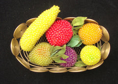 VINTAGE ART DECO BRASS BASKET SEQUIN BEADED 6 SIX FRUIT BANANA PEACH LEMON APPLE