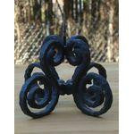 [SOLD] ANTIQUE VINTAGE FRENCH BLACK CAST IRON PICKET CANDLESTICK VICTORIAN GOTH ORNATE CANDLE HOLDER HM-2450