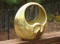 [SOLD] VINTAGE BRASS BIRD SWAN PELICAN SCULPTURE REGENCY ART DECO MID-CENTURY