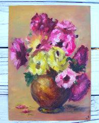 Lousie Johnson Painting - Pastel Flowers in Bowl