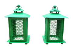 [sold] VINTAGE Rustic French Farmhouse Green Metal Lanterns