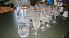 20 PC CRISTAL D ARQUES LONGCHAMPS FRENCH LEAD CRYSTAL GOLD TRIM GLASSWARE SET HM