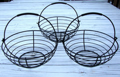 [SOLD] VTG FRENCH COUNTRY BLACK WROUGHT IRON HANGING BASKETS 3