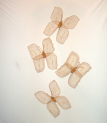 "VINTAGE LARGE WICKER BUTTERFLIES WALL ART SCULPTURES SET OF 4 [10.5"" X 10.5""]"