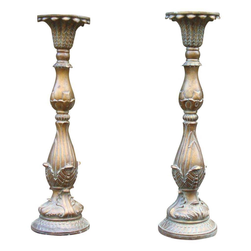 Ornate French Faux Bronze Candle Holders