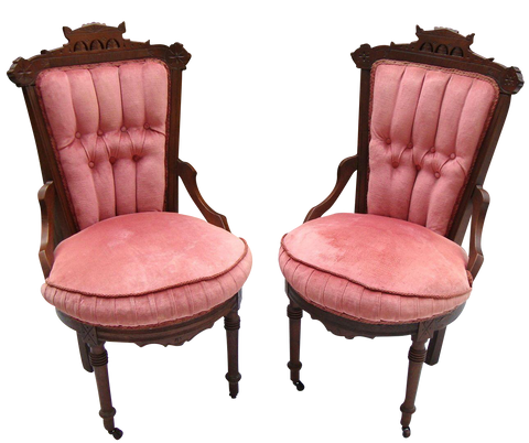 [sold] 2 ANTIQUE VINTAGE VICTORIAN EASTLAKE TUFTED PINK VELVET WALNUT CHAIRS