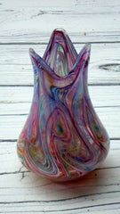 [SOLD] VTG PURPLE GLASS MURANO DRIP PAINT SMALL VASE
