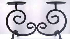 VINTAGE BLACK WROUGHT IRON 2 CANDLE HOLDER DUAL WITH ORNATE SWIRLS