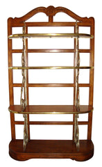 [SOLD] VINTAGE ART DECO FRENCH DREXEL BRASS Scroll PECAN walnut SHELF BOOKSHELF