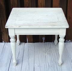 Vintage French Country Farmhouse Distressed Wood Table White
