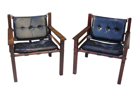 [SOLD] MCM Black Leather Tufted Danish Safari Chairs