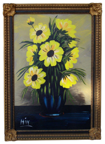 [SOLD] Large Vintage Yellow Floral Oil Painting Black Green Signed MIH