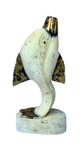 Vintage Indonesian Carved Wood Distressed Gold White Dolphin Fish Sculpture