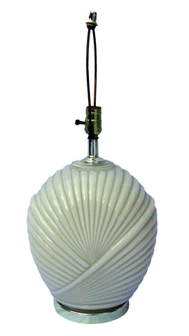 [SOLD] Vintage Art Deco Hollywood Regency Cream White Glass Brass Shell Lamp