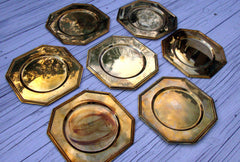 Vintage Solid Brass Charger Plates Set of 6