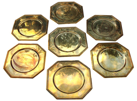[SOLD Vintage Solid Brass Charger Plates Set of 6
