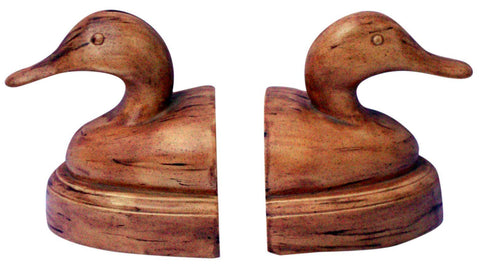 "[Sold] Modern Deco Duck Head Tan Brown Marble Bookends Artist Signed ""Liz"""