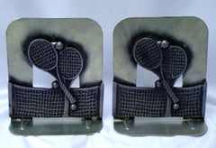 Vintage Silver Metal Tennis Bookends