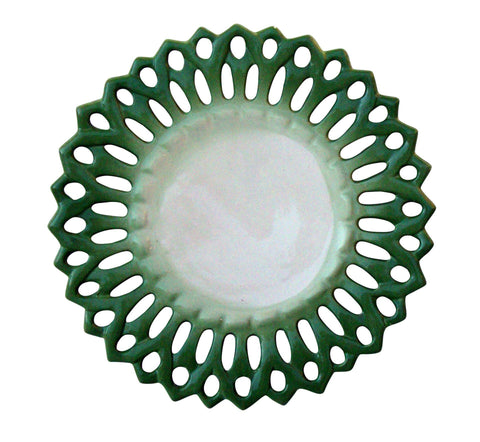 [SOLD] Portuguese Majolica Ceramic Green Trellis Lace Serving Plate Platter