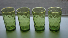 [Sold] Vintage Mid-Century Hollywood Regency Irridescent Green Bubble Shot Glasses