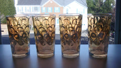 [SOLD] Vintage Mid-Century Hollywood Regency Irridescent Gold Bubble High Ball Glasses