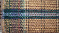 "[SOLD] Vintage Brown Blue Plaid Check Upholstery Fabric 57"" x 73"""