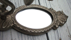 [Sold] Vintage Gustavian Swedish Silver Mirror Candle Sconces - 2