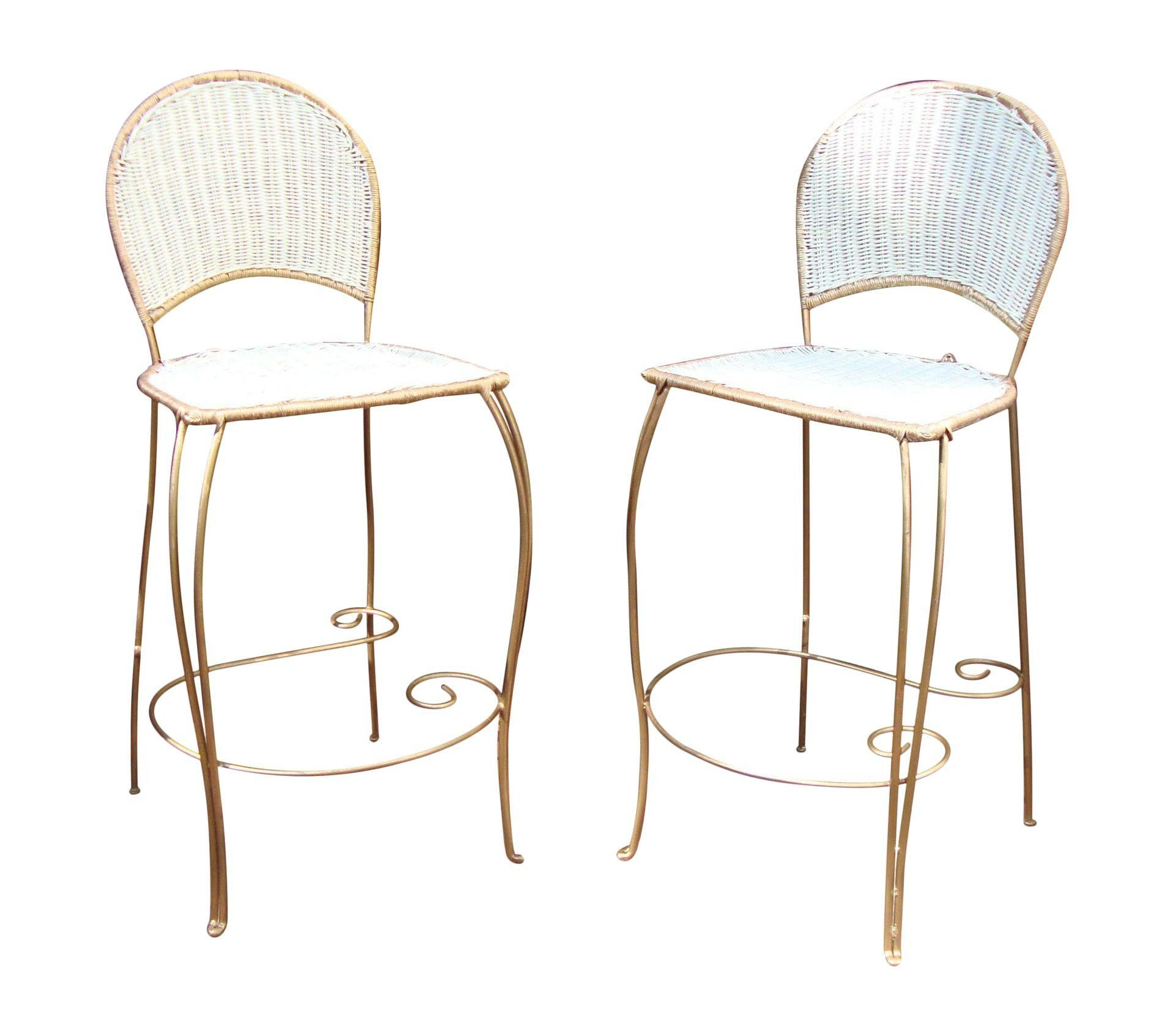 Gilt Wicker Wrought Iron Bar Stools - A Pair
