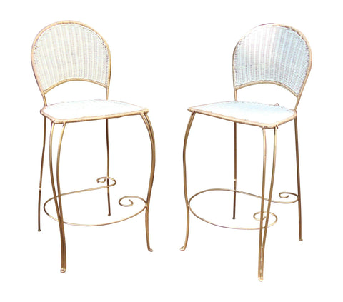 SOLD - Gilt Wicker Wrought Iron Bar Stools - A Pair Dining Chairs