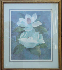 Robert White Signed Flowers Watercolor Print