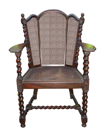Antique Victorian Jacobean Barley Twist Cane Chair