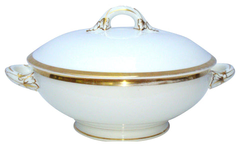 [Sold] Antique French Gold Porcelain White Server