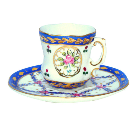 Limoges Gilt Blue Pink Porcelain Tea Cup & Saucer