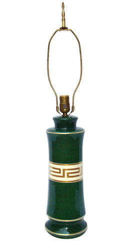 [SOLD] Antique Greek Key Green Gold White Ceramic Lamp