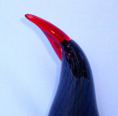 Murano Italian Art Glass Black Red Bird