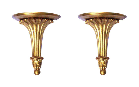 Italian Neoclassical Gilt Gold Sconce Shelves