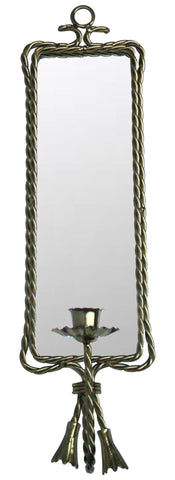 Hollywood Regency Gold Twist Mirror Candleholder